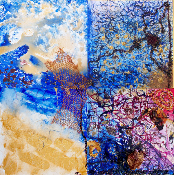 Heaven is in my mind - 4 panels; own technique 80 cm x 80 cm  1.000