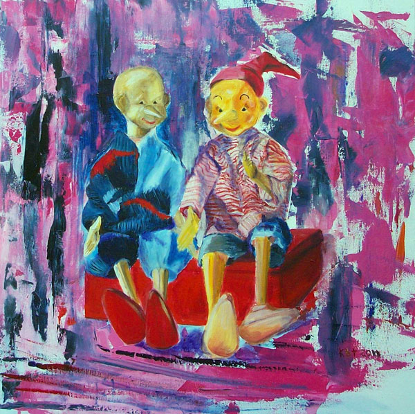 Brothers Pinocchio- acrylics on canvas; 60 cm x 60 cm  € 1.200