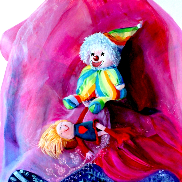 The Clown & The Doll, acrylics, 60 x 60 cm; $ 700