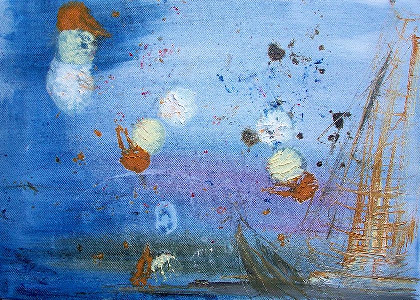 Flying dutchman; oil on paper; £ 250